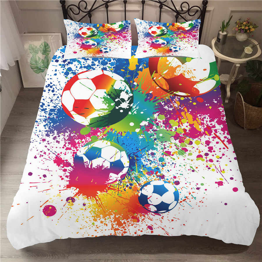 A Bedding Set 3D Printed Duvet Cover Bed Set Football Home Textiles for Adults Bedclothes with Pillowcase #ZQ06