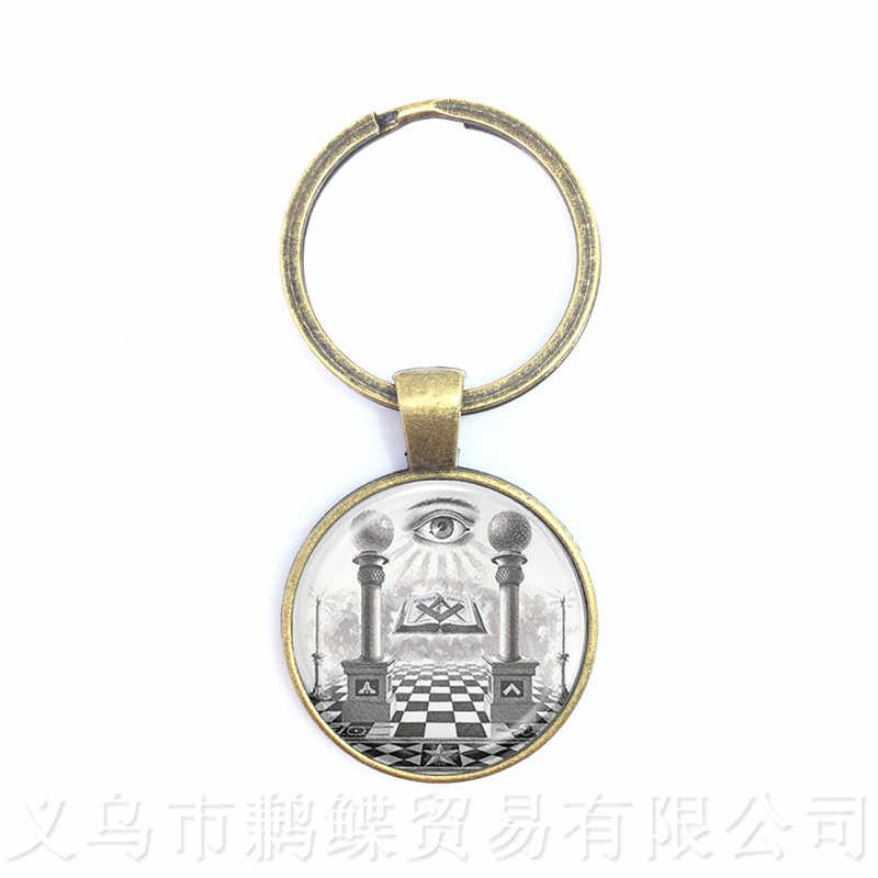 Egypt Pyramid Annuit Coeptis Eye of Providence Masonic Sign Keychains Sacred Geometry Llluminati Keyring Gift For Friends