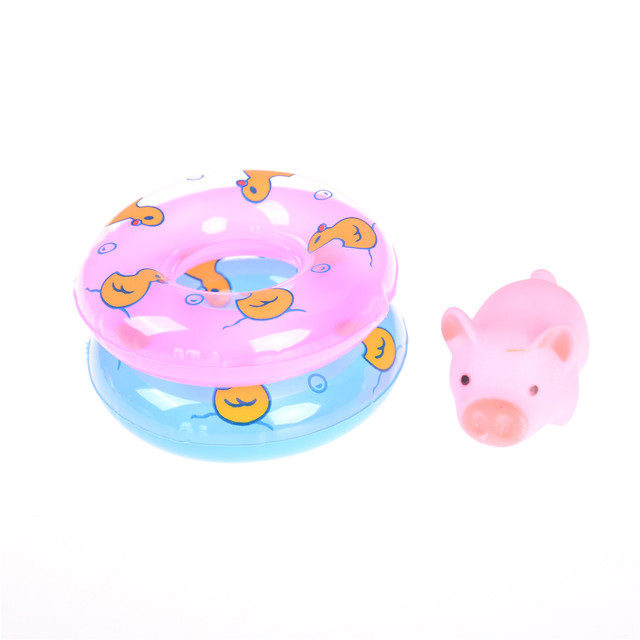 3pcs Cartoon Animals Swimming Water Soft Floating Rubber Pink Pigs Squeeze Sound Squeaky Bathing Toy For Baby Bath Toys Shower