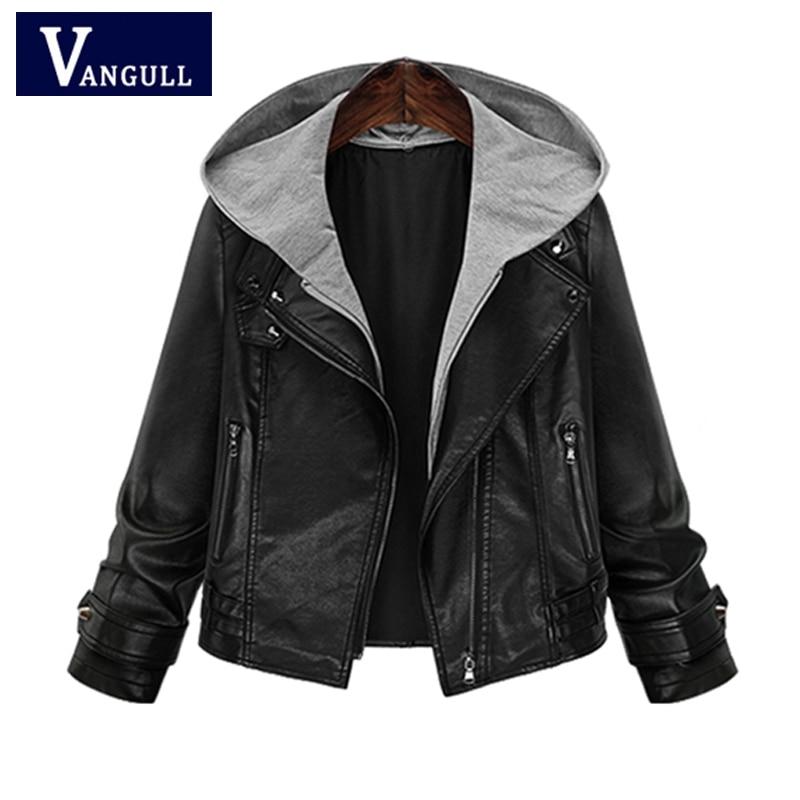 Fashion Casual Women's Clothing 2018 Autumn & Winter zipper hooded Female Faux   Leather   Coats Plus Size Slim women   Leather   Jacket