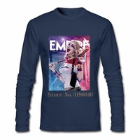 Movie Suicide Squad Harley Quinn Pink Floyd Men Tshirt Personal Crewneck Cotton Long Sleeve Custom Big