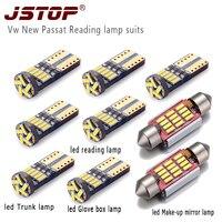 JSTOP 9piece/set Vw New Passat high quality led read light t10 w5w 194 Trunk bulbs36mm C5W festoon canbus 12VAC car read lamp