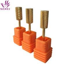 Сверло для ногтей из карбида золота с гладким верхом, сверло для ногтей, металлические сверла, 3/32 дюйма, аппарат для маникюра, электрические аксессуары для сверления ногтей, инструмент для дизайна ногтей