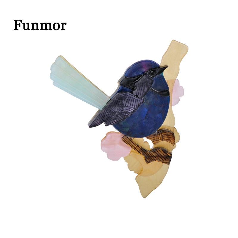 FUNMOR Cute Acrylic Fat Sparrow Bird Shape Brooches Handmade Resin Animal Brooch Women Kids Banquet Jewelry Lapel Hijab Pins