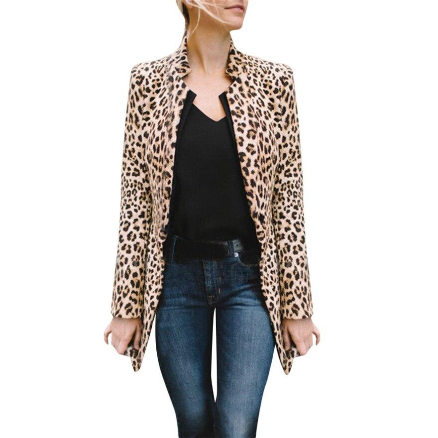 Women Leopard Printed Sexy Winter Warm Wind Coat Cardigan Long Coat Casual streetwear Cardigan  #1019 A#487 jeans con blazer mujer