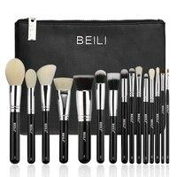 BEILI 15 Pieces Black Premium Goat Hair Synthetic Powder Foundation Blusher Eye Shadow Concealer Makeup Brushes