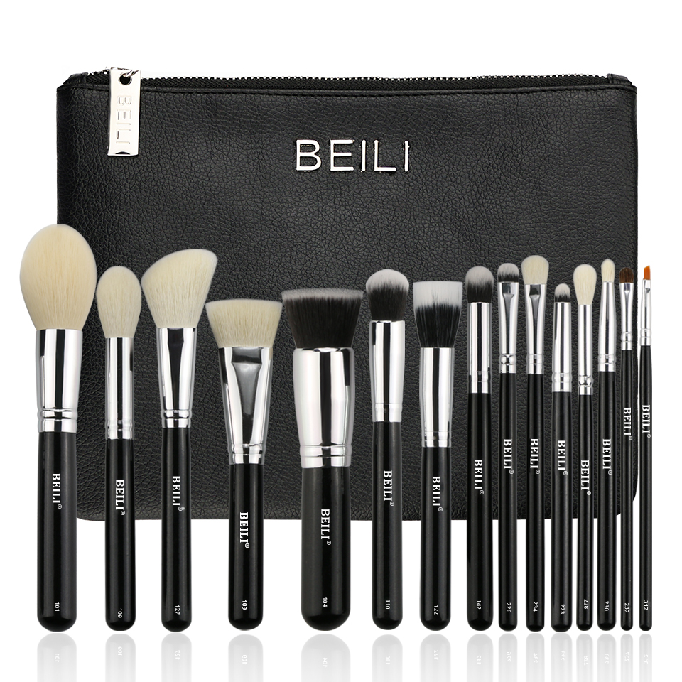BEILI 15 pieces Black Premium goat hair Synthetic Powder Foundation blusher eye shadow Concealer Makeup brushes set Cosmetic bag psv ado den haag