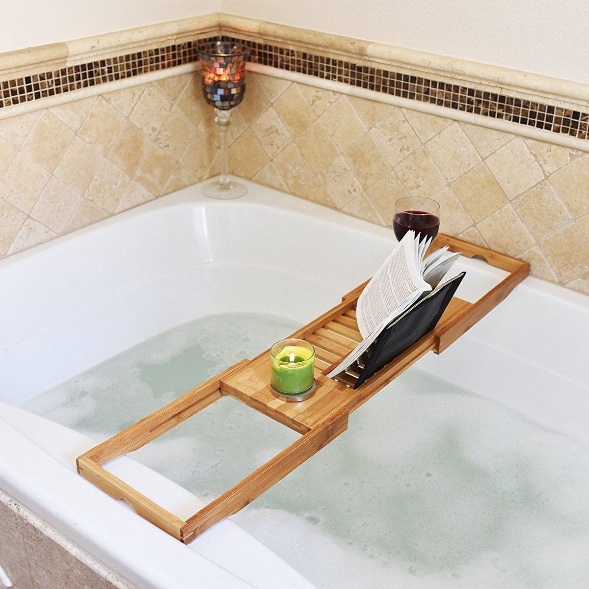 Bathroom Bath Tub Books phone Wine Cup Rack Shower Tray Holder Home ...