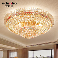 New Modern Gold Round LED Crystal Ceiling Lamp 80cm 100cm With K9 Crystals For Living Room