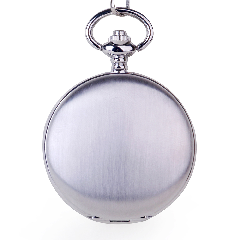 Silver Double Open Side Pocket Watch Fashion Mechanical Unisex Style Luxury Fob Pocket Watch With Chain