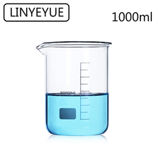 LINYEYUE 1000mL Glass Beaker Borosilicate Glass Measuring Cup high temperature resistance Laboratory Chemistry Equipment linyeyue 2000ml glass beaker borosilicate glass measuring cup high temperature resistance laboratory chemistry equipment
