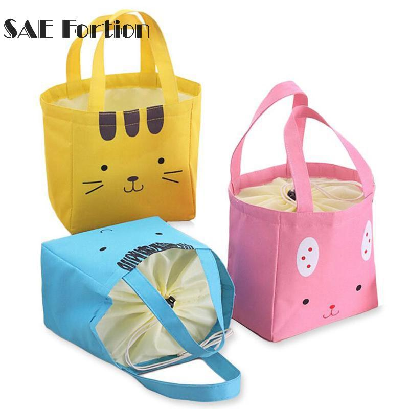 Cartoon Rabbit Canvas Insulated Lunch Bag Kids Thicken Travel School Lunch Bags Thermal Food Picnic Carry Bag YYR9742