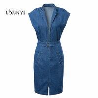 2017 New Summer Autumn Vintage Women Denim Dress Solid Slim High Waist Sleeveless Jeans Midi Dresses