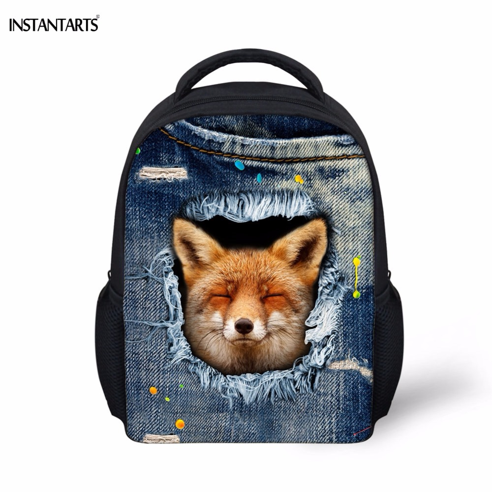 INSTANTARTS Kindergarten Students Schoolbags Cute Fake Denim Fox Print Children Backpacks Baby Galaxy Boys Girls Mini Satchels