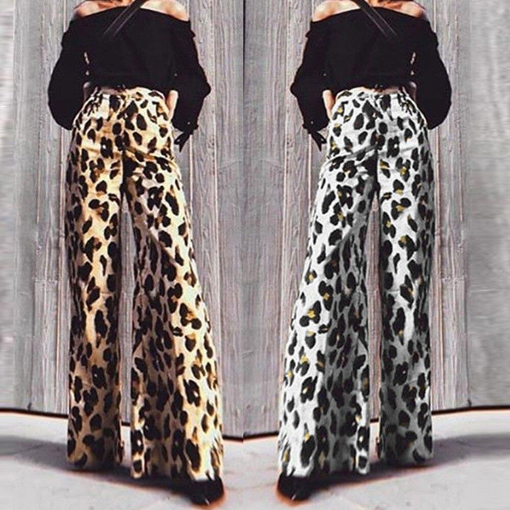 snakeskin Leopard print   pants   autumn winter women sexy bell bottom snake skin trousers high waist   wide     leg     pants
