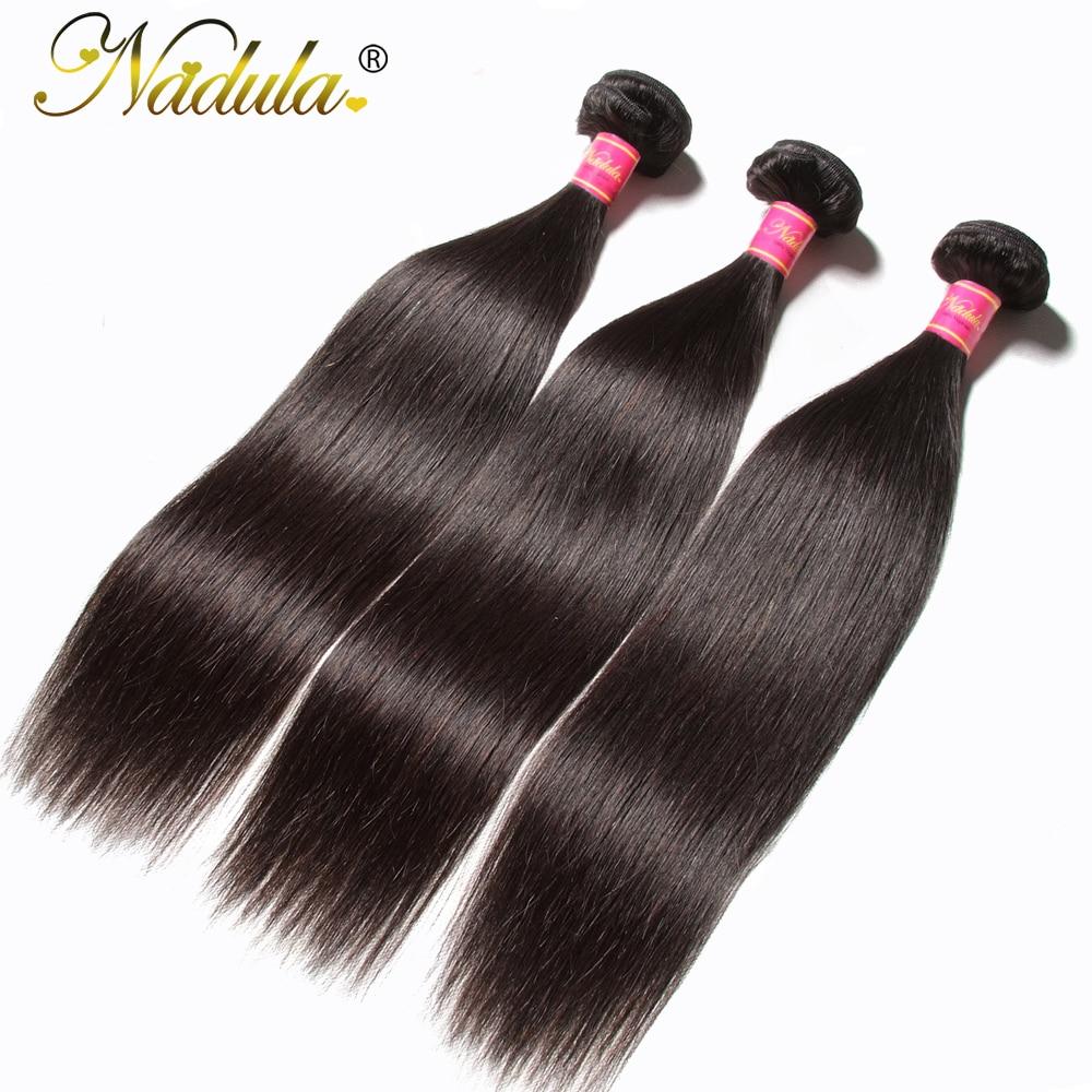 Nadula Hair 1pcs / 3Bundles / 4 Bundles Malaysian Straight Hair 100% - ადამიანის თმის (შავი) - ფოტო 2