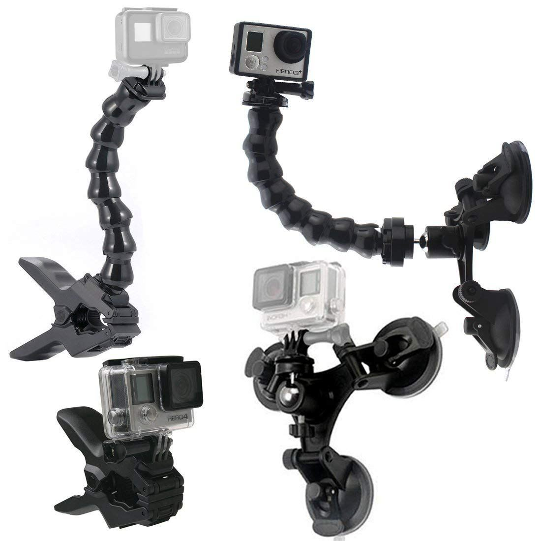 Suction Cup Car Mount Holder with 360 Degree Mount+Jaws Flex Clamp Mount with Adjustable Gooseneck GoPro Accessories for GoPro