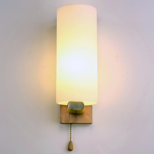 With cable switch creative wall lamp bedroom bedside solid wood wall ...