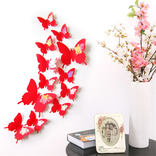 Pcs D PVC Wall Stickers Gold Foil Butterfly Sticker DIY Decal - Butterfly wall decals 3dpvc d diy butterfly wall stickers home decor poster for kitchen
