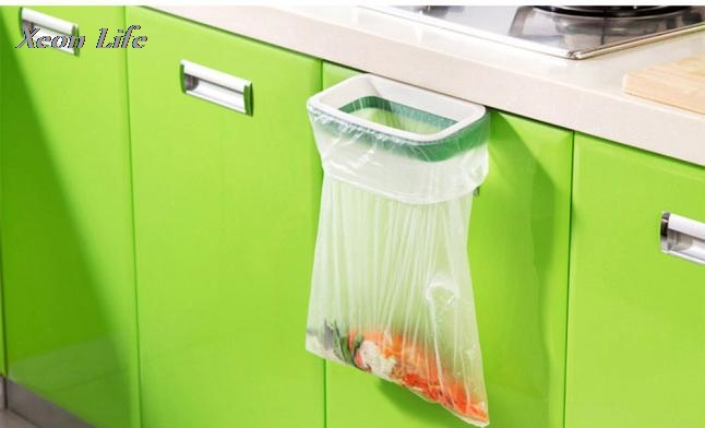 2017 Solid Hanging Kitchen Cabinet Cupboard Door Back Stand Trash Rack Style Storage Garbage Bags Trash Holder