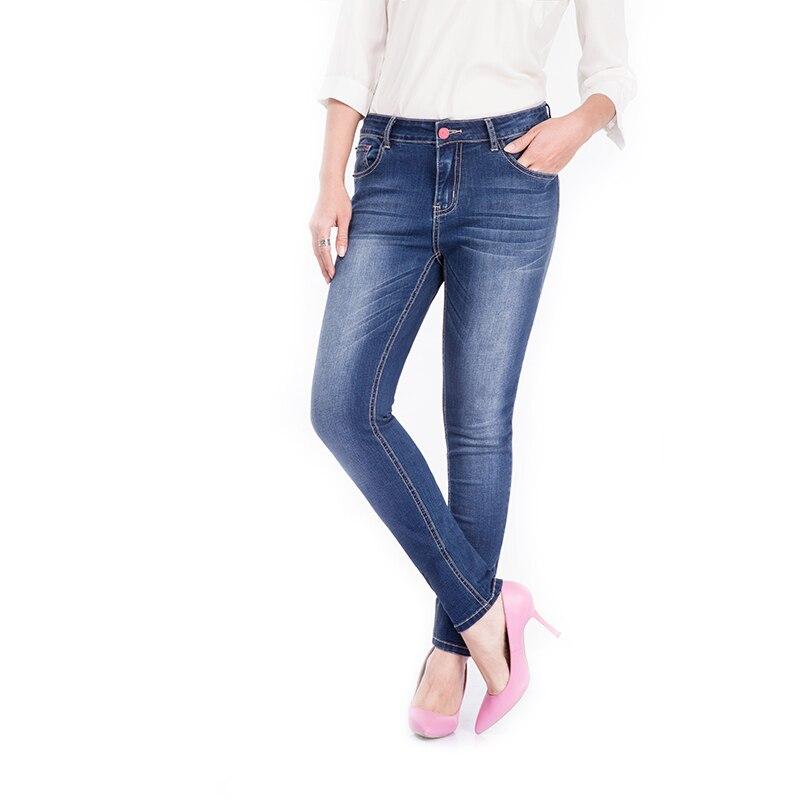 2016 new autumn pencil pants women fashion blue jeans mid waist zipper trousers full length slim