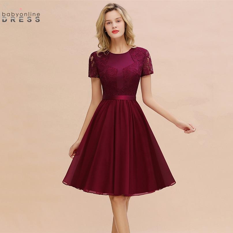Elegant Short Sleeve Burgundy Lace Homecoming Dresses With Belt Sweet Chiffon Short Graduation Dresses Vestido Curto