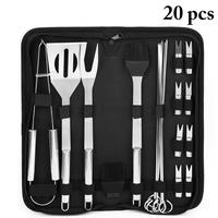 20Pcs/Set Stainless Steel Barbecue Grilling Tools Set Bbq Accessories Grill Bbq Utensil Camping Bbq Grill Tools Kitchen Tools