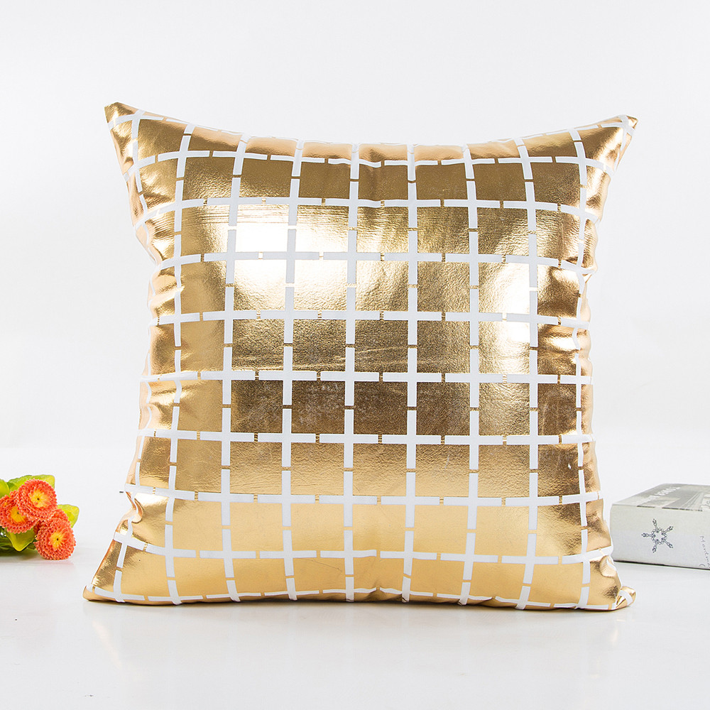 Image 5 - Fashion Geometric Gold Foil Printing Pillow Cover 45cmX45cm High Quality Sofa Waist Throw Cushion Cover Bed Home Decoration-in Cushion Cover from Home & Garden