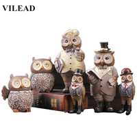 VILEAD 6 Styles Resin Owl Figurines 8'' Wise Owl Statue Creative As Wise As Owl Gentleman Miniatures Vintage Home Decor Model