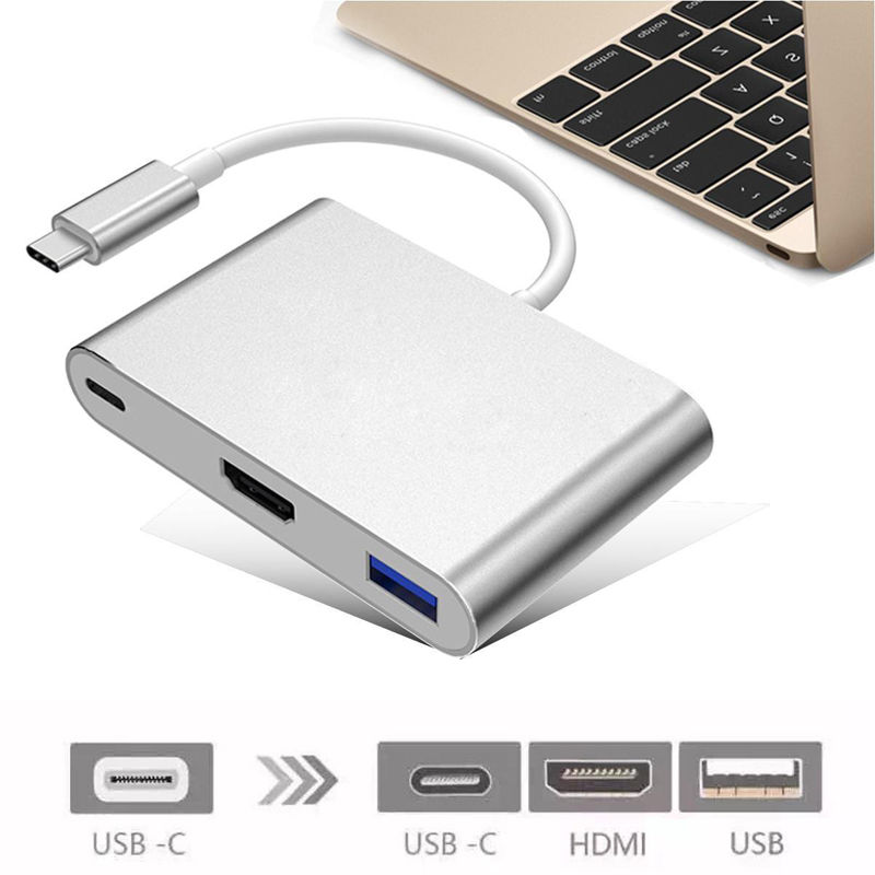 New USB 3.1 Type-C to 4K HDMI/USB 3.0/USB-C charging port OTG Adapter Cable for MacBook Digital Camera smartphone Ultra HD TV