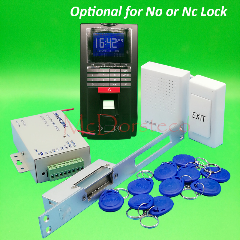 DIY MF131 Fingerprint Access Control System Complete No Nc yli Long Electric Strike Lock Door Access System Kit + Power Supply