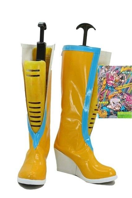 Jojo's Bizarre Adventure 6 Anime Jolyne Kujo Cosplay Shoes Yellow Boots Custom Made