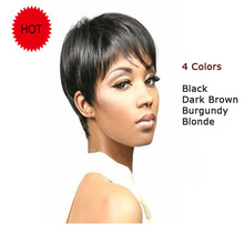 4 Colors Fashion Synthetic Short  Black Wigs for Africans Black Women Brown Blonde Burgundy Pixie Cut Wig Natural Hair Wigs
