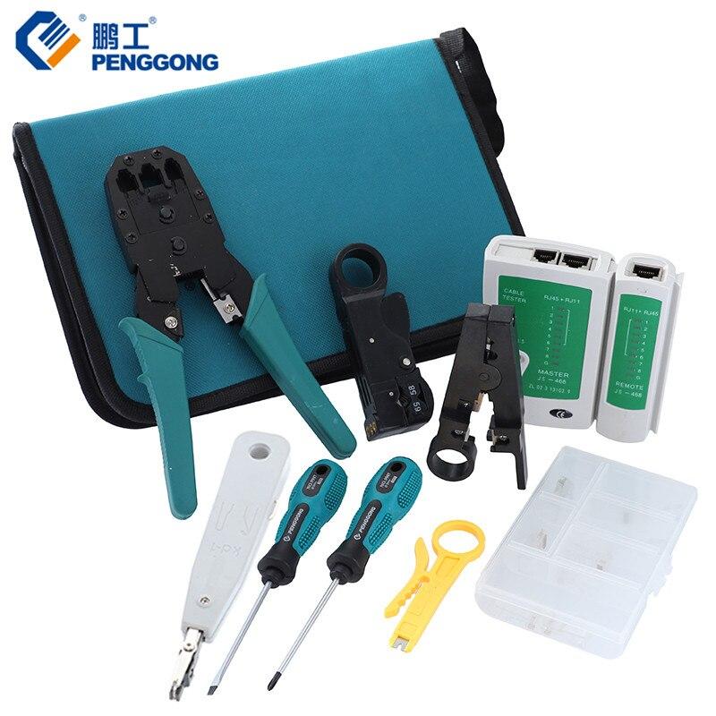 11 pièces/ensemble réseau ordinateur Maintenance réparation outils Kits professionnels Phillips tournevis à fente pince à sertir outils