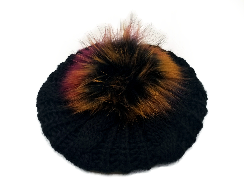 B179103 NEW fashion stretchy sweater knitting random raccoon POMPOM Beret,best pompom hair accessory for women hat design custom ...