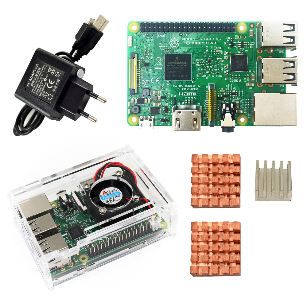 D Raspberry Pi 3 Model B Starter Kit-pi 3 Board/pi 3 Case/EU Stekker /met Logo Heatsinks Pi3 B/pi 3b Met Wifi & Bluetooth