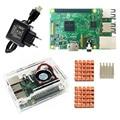 D Raspberry Pi 3 Model B starter kit-pi 3 board/pi 3 case/EU stekker /met logo Heatsinks pi3 b/pi 3b met wifi & bluetooth
