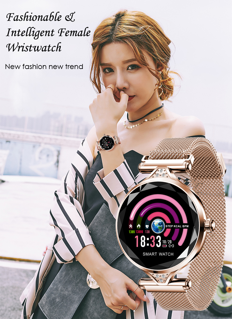 H1 Women Fashion Smartwatch Wearable Device Bluetooth Pedometer Heart Rate Monitor Smart Watch For AndroidIOS Smart Bracelet (1)