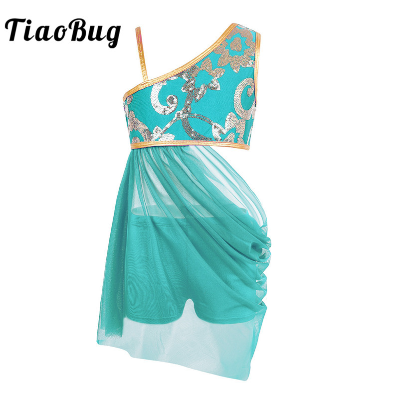 TiaoBug Kid Teens Floral Sequin Camis Top Mesh Skirt Set Girls Gymnastics Shorts Suits Lyrical Contemporary Ballet Dance Costume