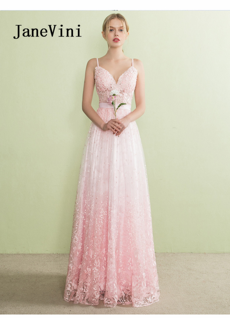 JaneVini Long   Bridesmaid     Dresses   Lace Sleeveless Backless Floor Length Princess Party Prom   Dress   Abiti Da Damigella D'onore 2018