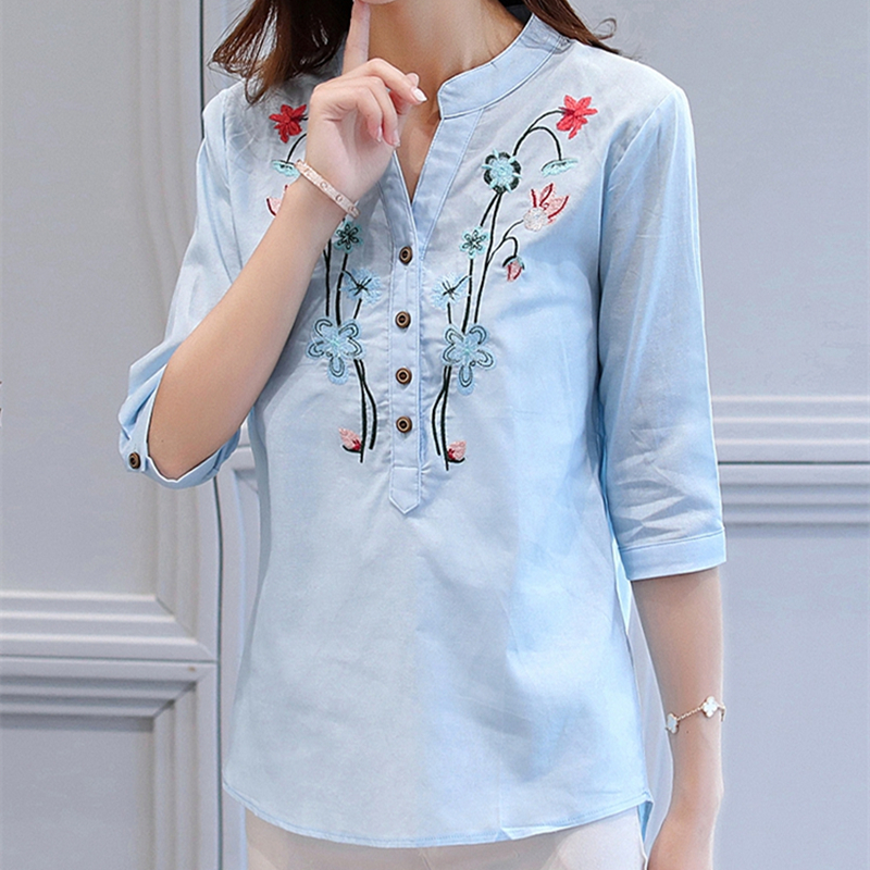 23cd2113efd6 2017 Summer New Floral Embroidered Shirt Female Half Sleeve Korean Style  Women Blouse Loose Shirt Cotton Linen V Neck Tops-in Blouses   Shirts from  Women s ...