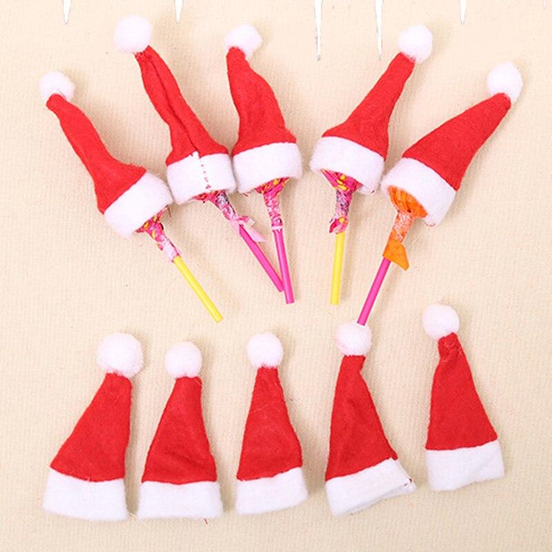37b1446789655 20pcs Mini Little Christmas Hats Lovely Cute Lollipop Santa Claus Hat Cap  Wrap Party Decor Creative Caps Christmas Tree