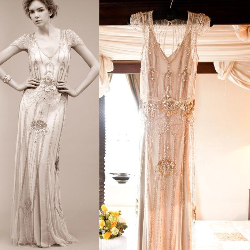 2015 New Arrival Art Deco Wedding Dresses Sheath Open Back with ...