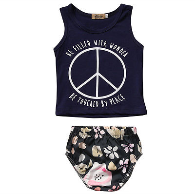 Hot Newborn baby Casual Sleeveless Baby Girl Boy Clothes Set Letter Vest+Print Pants Bottoms 2pcs Outfits Set