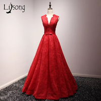 Modest Appliques Red Evening Dress Floor Length Formal Gown trend new A Line Customized Long Women evening gown robe de soiree