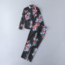 Fashion woman's floral print black shirts pencil pants 2017 summer long sleeve blouse pantsuits S-XL size