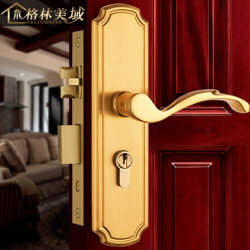 все цены на Bedroom copper full copper American door lock European modern simple solid wood interior door lock handle copper