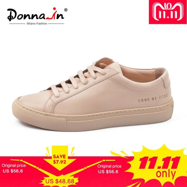 Donna-in/женские сникерсы из натуральной кожи на плоской подошве, на низком каблуке, на платформе, женская модная дышащая обувь на шнуровке, женская обувь, 2018, белого и телесного цвета