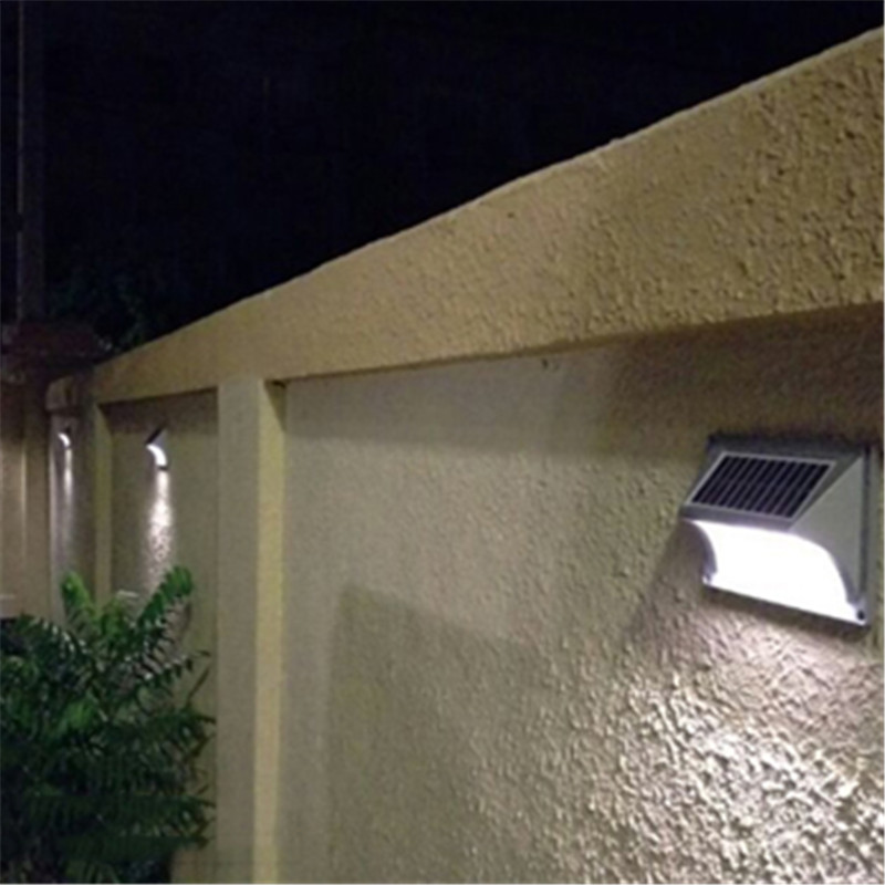 Energy Saving LED Solar Panel Step Wall Lamp Waterproof Outdoor Garden Fence Light Sunlight Corner Stair Motion Sensor Lighting