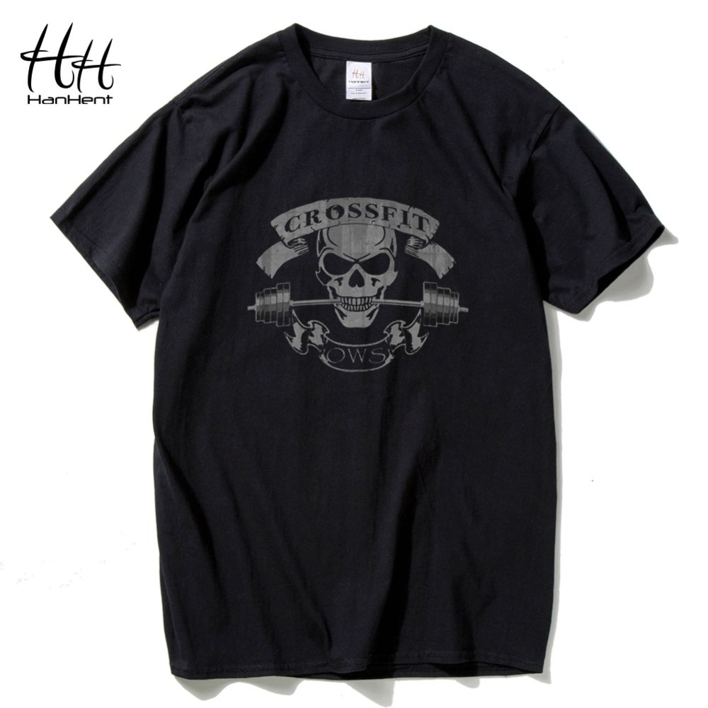 Hanhent crossfit skull t shirts men fitness t shirt for Best fitness t shirts